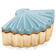 Luxe By Peter's - Eastern Fan Trinket Pot Blue/Gold 14x9cm