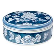 Florabelle - Camille Round Box With Lid Blue and White