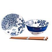 Concept Japan - Nunome Karakusa Bowls/W Chopsticks 15cm 4pc