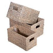 Peter's - Hyacinth Rectangular Basket Set White Wash 3pce
