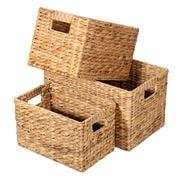 Peter's - Hyacinth Rectangular Basket Natural Set 3pce