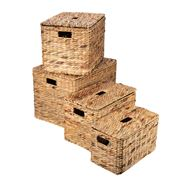 Peter's - Rectangular Lidded Basket Natural Set 4pce
