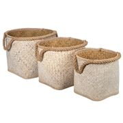 Peter's - Palm Leaf Storage Basket Set White Wash 3pce