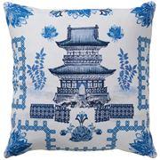 Paloma - Oriental House Cushion Blue & White 50x50cm