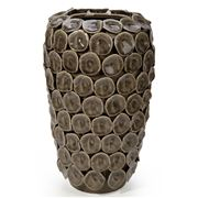 Lena Ocean - Olive Ceramic Vase W/ Circular Discs Large 36cm