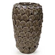 Lena Ocean - Olive Ceramic Vase W/Circular Discs 31cm