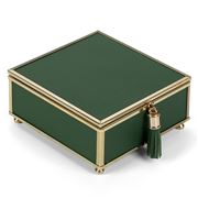 Flair Decor - Green & Gold Tassel Jewellery Box 13x6x13.5cm