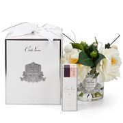 Cote Noire - Ivory Roses W/Glass Jar & Silver Crest