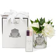 Cote Noire - Three Ivory Roses Clear Glass/Silver Crest