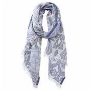DLUX - Yumi Cotton Jacquard Scarf Blue