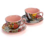 Baci Milano - Coral Porcelain Coffee Cups Set 2pce
