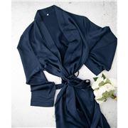 Silk Magnolia - Silk Robe French Navy Large