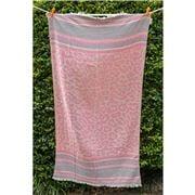 Aelia Anna - Beach Towel Keros Beige/Eucalypt/Pink 94x180cm