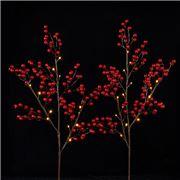 Raz - Berry Lit Branch 76cm