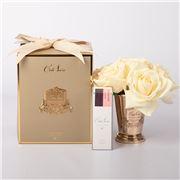 Cote Noire - Seven Champagne Roses w/Golden Goblet & Crest
