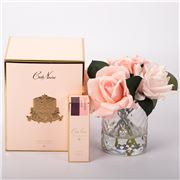 Cote Noire - Mixed Pink Roses in Herringbone Glass w/Spray