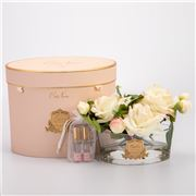 Cote Noire - Vase Oval Pink Blush Roses w/Pink Box