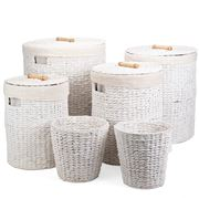 Peter's - Hyacinth Round Hamper White Set 6pce
