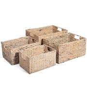 Peter's - Hyacinth Rectangular Basket White Wash Set of 4pce