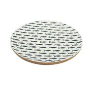 Coastal Home - Pesce Wood/Resin Natural/Blue Plate 27cm