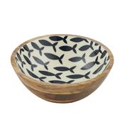 Coastal Home - Pesce Wood/Resin Bowl Natural/Blue 25x9cm
