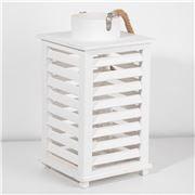 Bennett - Wood Louvre Lantern White 23x43cm