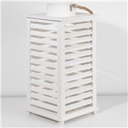 Bennett - Wood Louvre Lantern White 26x55.5cm