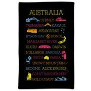 Ogilvies Designs - Australian Places Tea Towel Black