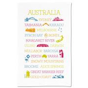 Ogilvies Designs - Australian Places White Tea Towel