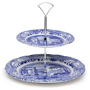 Spode - Blue Italian Double Tiered Cake Stand