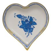 Herend -  Chinese Bouquet Blue AB Heart Shaped Dish