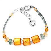 Antica Murrina - Mistral Grey & Amber Murano Bracelet