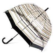 Clifton - Birdcage Umbrella with Black & Brown Stripes