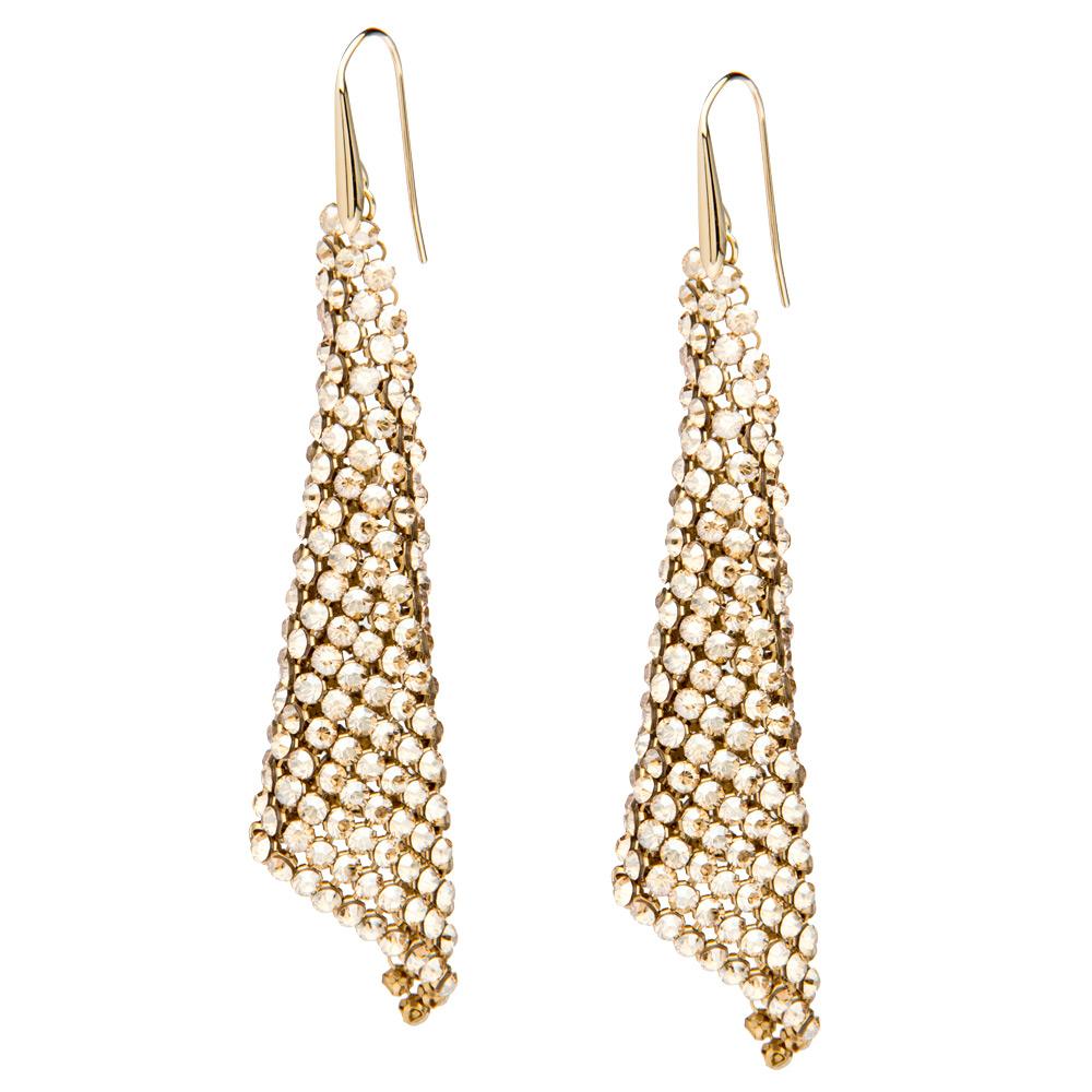 Swarovski Fit Crystal Golden Shadow Pierced Earrings