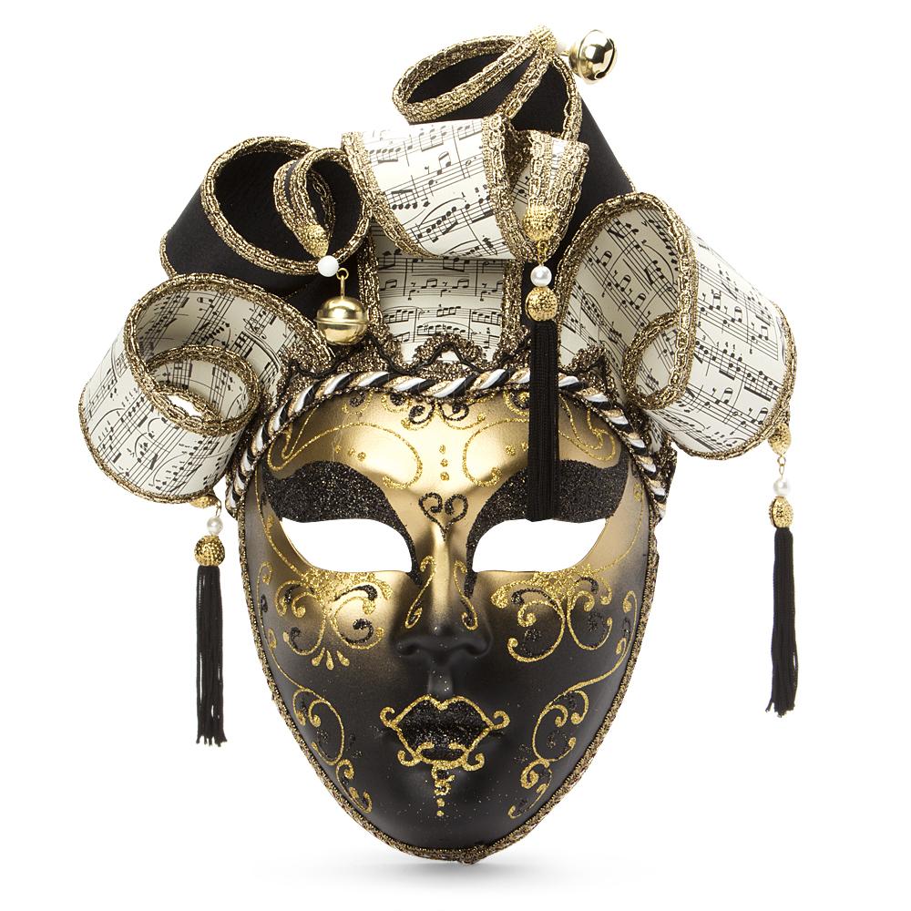 Regal Moda Venetian Musical Jester Mask Black Amp Gold