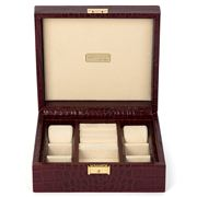 Renzo - Bordeaux Crocodile Print Leather Jewellery Box