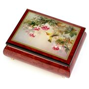 Ercolano - Hummingbird with Fuchsia Wooden Musical Box