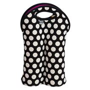 Built NY - Two-Bottle Wine Tote Black & White Polka Dot