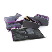 American Tourister - Grey & Violet 5-in-1 Travel Pouch Set