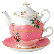 Royal Albert - Cheeky Pink Vintage Tea For One Set 3pce