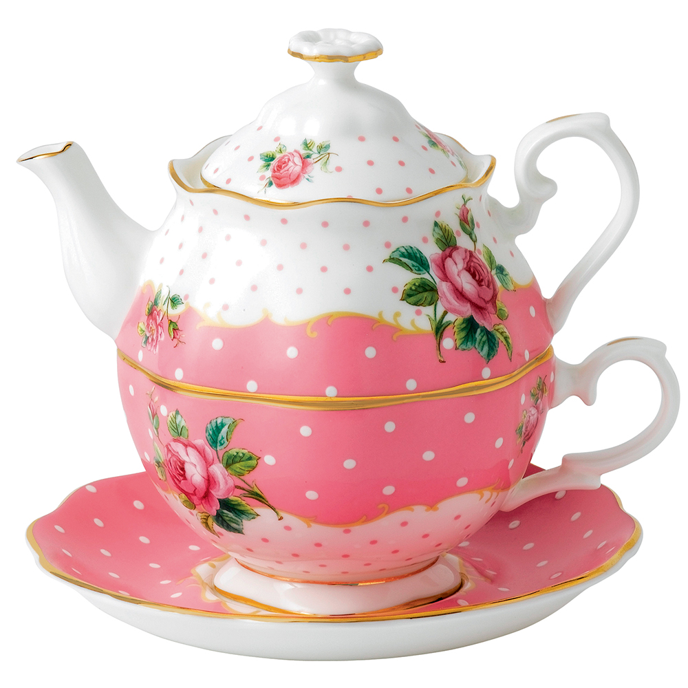 Royal Albert Cheeky Pink Vintage Tea For One Set 3pce
