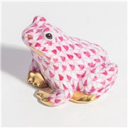 Herend - Sitting Frog Miniature Ornament Raspberry