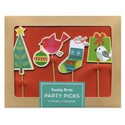 Galison - Treetop Christmas Birds Party Pick Set 12pce