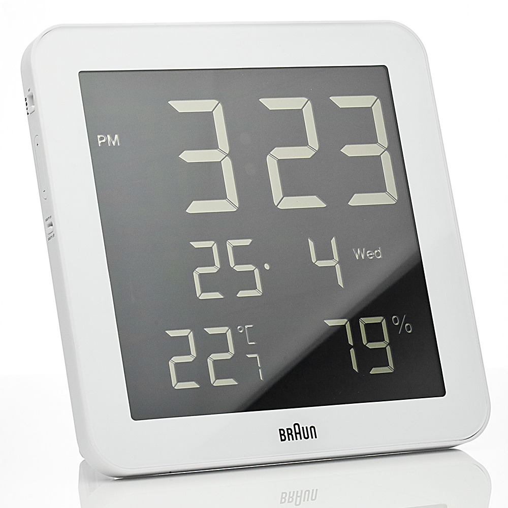 Braun Digital Wall Clock And Weather Station White