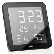 Braun - Digital Wall Clock and Weather Station Black