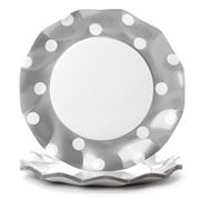 Ex.tra - Paper Plate Set Silver Polka Dots 10pce