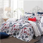 Florence Broadhurst - Egrets Red & Navy King Quilt Set