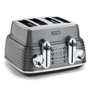 DeLonghi - Scultura Grey Four-Slice Toaster