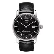 Tissot - T-Classic Titanium Black Dial & Leather Strap Watch