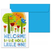 Little Red Owl - Welcome To The World Blue Greeting Card